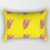 Pink Solo Blooms on Yellow Rectangular Pillow by carmenrayanderson
