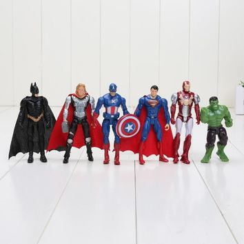 Marvel 6pcs/set 8-10cm Super Hero The Avengers action figure Toys Spiderman Captain America Hulk batman thor superman toy