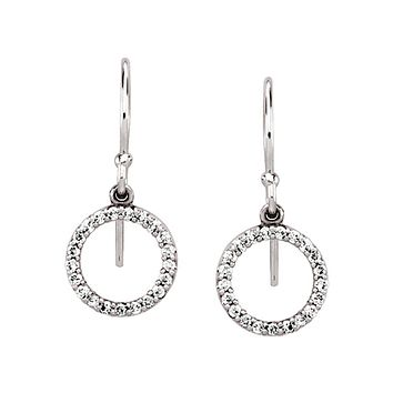 1/5 cttw Diamond Circle Dangle Earrings in 14k White