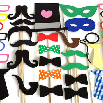 Photo Booth Props XXL 40 Large Party Pack of 40 Wedding Photobooth Props Party Decorations Party Supplies Masks Glasses Mustache Silver