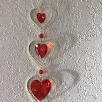 SALE Valentine's Day Hearts, Wire Wrapped Red Glass Hearts, Hanging Ornament, Hanging Crystal, Love on a Wire, Long Stained Glass Heart Trio