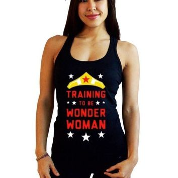 Wonder Woman print Bodybuilding Women Cotton Gyms Tank Tops summer fitness women vest top O-Neck black Sleeveless Shirt Stringer
