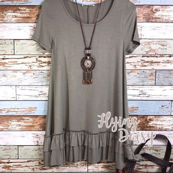 Faded Olive Ruffle Tunic Top