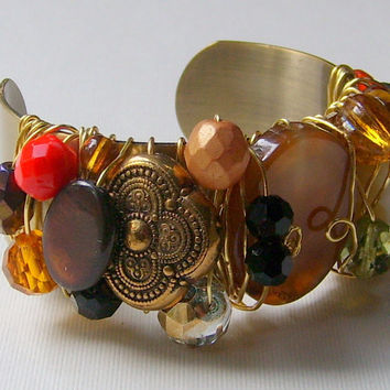 Bracelet Beaded Cuff Gold Wire Wrapped Red Orange Brown Amber Beige Green Black