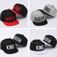 2016 new 4color KING QUEEN Snapback Hat Acrylic Couple Baseball Cap Men Women Lovers Gifts For Girl Boy Friends Hip Hip Cap