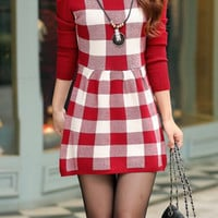 Red Knitted Long Sleeve Plaid Skater Dress