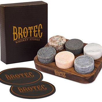 Whiskey Stones Gift Set  6 Granite Round Beverage Chilling Drinking Stones Whiskey Rocks with 2 Extra whisky glasses coasters  Premium Sipping Rocks in Elegant Wooden Storage Tray  Bar Accessories