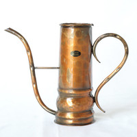 COPPER WATERING CAN, Curved Handles, Solid Copper, Made 1960s or 1970s, 'Fiosa Schweizer' handmade in Switzerland, Rustic Modern Decor