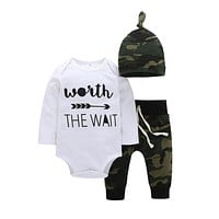 Army Green Newborn Baby Boy Romper Pants Outfits 3Pcs Clothes