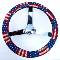 Rustic USA American Flag Steering Wheel Cover