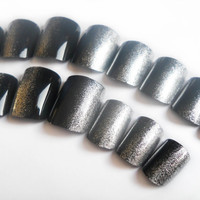 Silver and Black Fake Nails, Silver Ombre Nails, Side Manicure, Metallic Press on Nails, Acrylic Nails, Black Nail Art