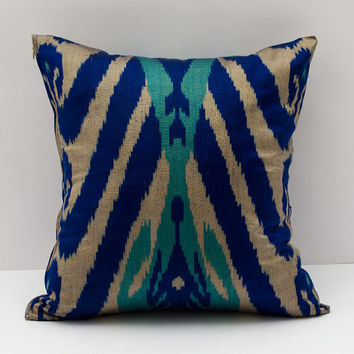 15x15 ikat cushion cover, turquoise blue ikat pillow turquoise pillow, ikat pillow, pillow cover cushion case