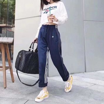 LMFON Reebok' Women Fashion Stripe Letter Pattern Print Long Sleeve Sweater Crop Tops Trousers Set Two-Piece Sportswear