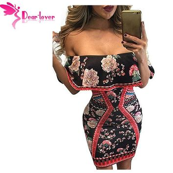 Dear Lover christmas print dresses Bodycon Night Club Dark Floral Ruffle Off Shoulder Short Sleeve Dress Vestidos Mujer LC22930