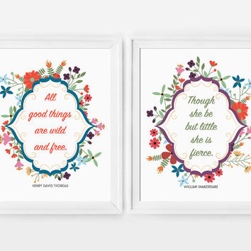 Set of 2 Quote Prints // Though She Be But Little She is Fierce, All Good Things Are Wild and Free, Etsy Baby, Girls Room, Nursery Prints