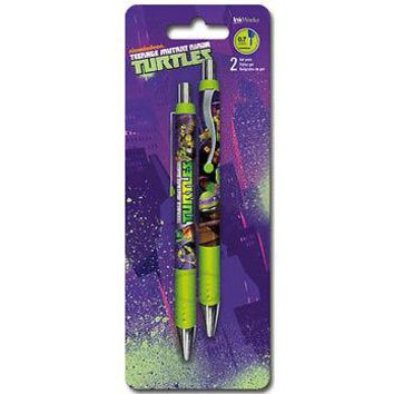 Teenage Mutant Ninja Turtles TMNT Gel Pen 2 Pack Set School Writing Gift NEW