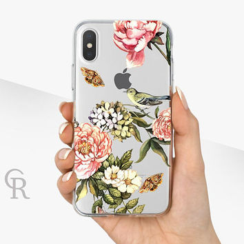 Floral iPhone X Clear Case - Clear Case - For iPhone 8 - iPhone X - iPhone 7 Plus - iPhone 6 - iPhone 6S - iPhone SE Transparent - Samsung