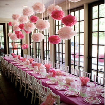 1pcs cute babyshower decoration 15cm 6 inch Tissue Paper Flowers paper pom poms balls lanterns Party Decor Craft Wedding