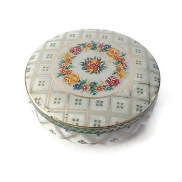 Vintage Daher Decorated Ware Tin Box, Round, Rose Floral Garland Design, Lidded Box, Candy Box, White and Blue Checks, Gold, Made in England