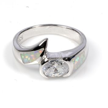 Sterling Silver Oval Stone CZ 12MM White Lab Opal Ring