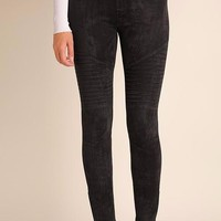 SUEDE MOTO JEGGINGS BLACK