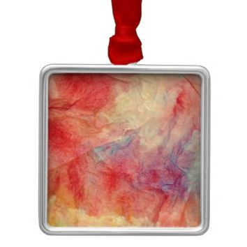 Pink Marble Square Metal Christmas Ornament