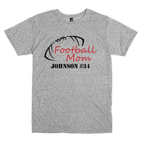 Football mom shirt.  Customized with player's name and number.  Football.