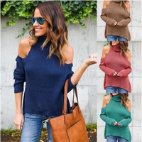 High Neck Cold Shoulder Knitted Sweater B0014183