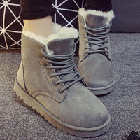 2016 New Warm Winter Boots For Women Ankle Boots Waterproof Snow Girls Boots Female Shoes Suede with Plush Insole Botas Mujer Watermelon Grey