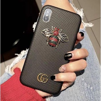 GUCCI Popular Luxury Bees Rainbow Mobile Phone Case iphone 6 6plus iphone 7 7plus iphone 8 8plus iphone X Protective Case Black I12488-1