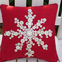 Snowflake Pillow, Red Burlap Pillow, Holiday Pillow, Christmas Pillow, Snowflake Decor, Holiday Decor, Christmas Decor, Holiday Gift
