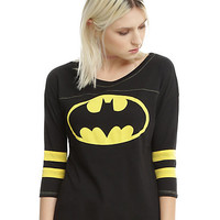DC Comics Batman Striped Girls Athletic Raglan