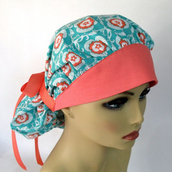 Women's Bouffant Scrub Hat or  Surgical  Cap Medallion in Turquoise