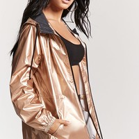 Metallic Hooded Windbreaker