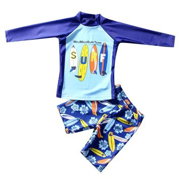 Kids Boys Swimsuit 2 Pieces With Cap Surf Board Printed Children Boys Swimwear Beach Clothes Boy Summer Bathing Suit
