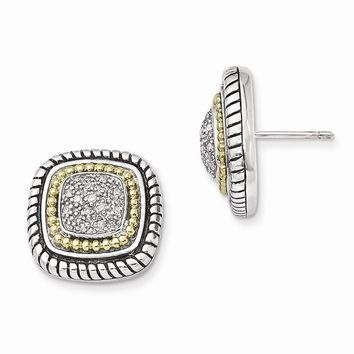 Antique Style Sterling Silver with 14k Gold 1/10ct. Diamond Post Earrings