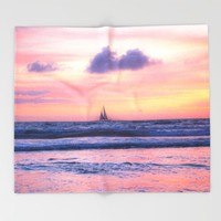 CALIFORNIA SUNSET Throw Blanket by Oksana Smith