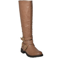 Womens Knee High Boots Accented Ankle Chain Crisscrossed Strap Buckles  Tan