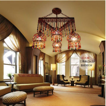 D50Cm Antique Red Crystal Pendant Lamps Lighting Bohemian Iron Bar Pendant Light Colorful Crystal Pendant Light Shipping