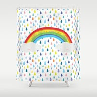"Rainbow Shower Curtain with Happy Statement ""Pretty Colors Make Me Smile"" , Rainbow & Colorful Raindrops Bathroom Decor"