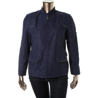 Alfred Dunner Womens Studded Long Sleeve Casual Blazer