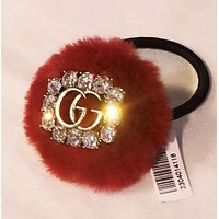 GUCCI Fashion New More Diamond Wool Hair Rope Accessories Women Red