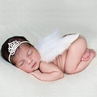 BS#S 0-6Months Baby Girls Angel Wings Set Unisex Design Newborn Feather Photography Props