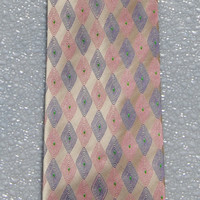 Men's Vintage Necktie Pink and Gray 80's Stanley Blacker