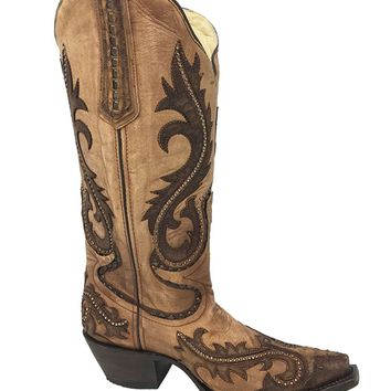 CORRAL Women's Overlay and Studs Cowgirl Boot Snip Toe - G1403