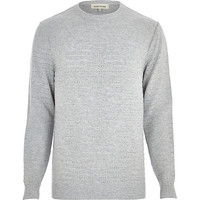 River Island MensGrey mesh stripe crew neck sweater