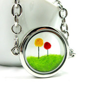 Terrarium Dr Seuss Inspired Lorax Locket Bracelet, Red and Yellow Truffula Trees on Green Grass Needle Felted