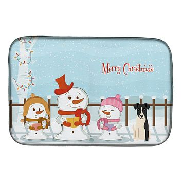 Merry Christmas Carolers Smooth Fox Terrier Dish Drying Mat BB2429DDM