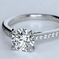 1.20ct E-VVS1 Platinum Round Diamond Engagement Ring  JEWELFORME BLUE