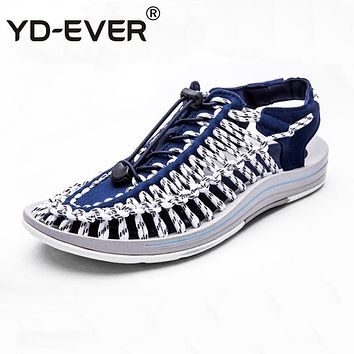 YD-EVER weave men sandals handmade Summer fashion brand beach slippers casual moccasin loafers